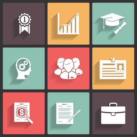 Business career icons, white on colored squares with shadow Vector