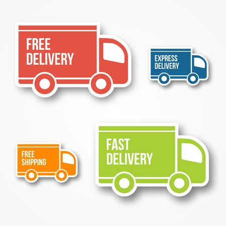 rushing hour: shipment and free delivery, free shipping, 24 hour and fast delivery icons Illustration