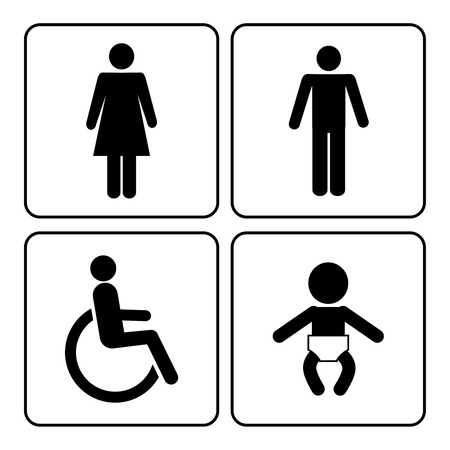 vector toilet pictogrammen: dame, man, kind en handicap