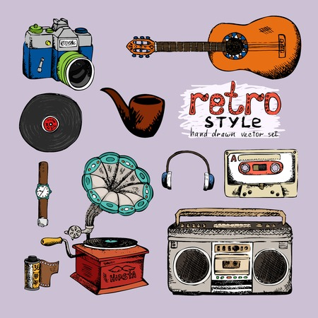audio cassette: hipster style music and photo vector hand drawn objects Illustration