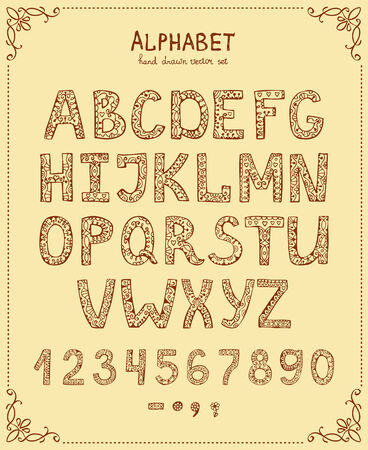 Handwriting Alphabet, Vector Hand Drawn Font in vintage style Vector