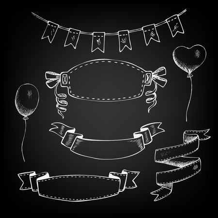 chalk frame: labels flags balloons ribbons banners drawn with chalk on blackboard Illustration