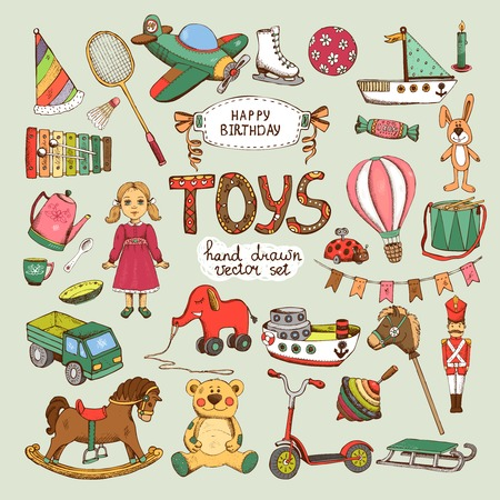 toy boat: happy birthday toys set: pinwheel balloon elephant horse Illustration