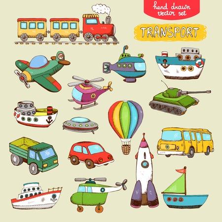 locomotora: juguetes transporte vector: Tren de barco avión de coches