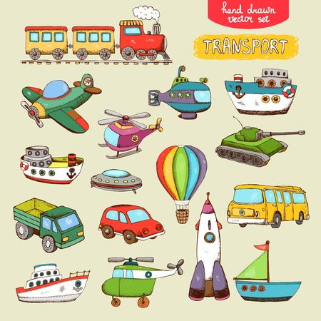 boat icon: vector transport toys: train plane car boat