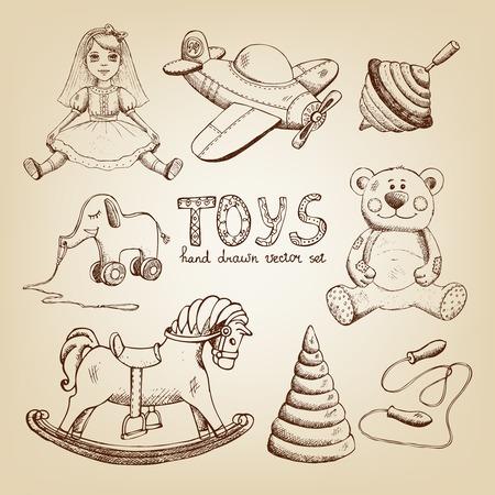 retro hand getekende speelgoed: poppen vliegtuig mallemolen teddybeer