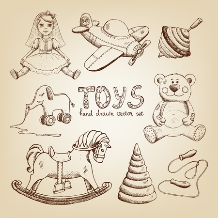 retro hand drawn toys: doll airplane whirligig teddy bear Illustration
