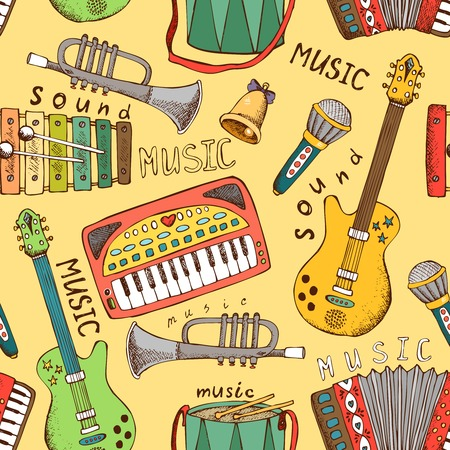 cute graphic: painted musical instrument seamless pattern vector illustration