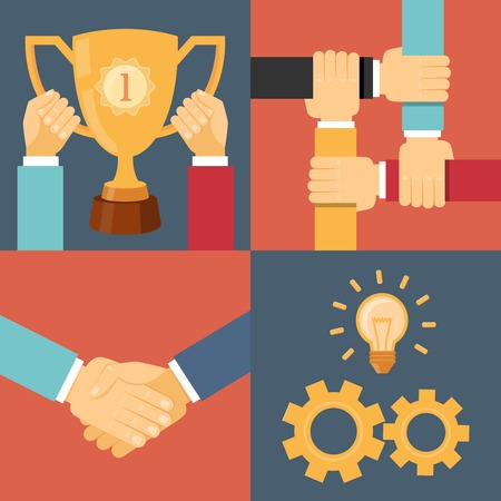 handshake partnership victory trophy gears vector illustration Illustration