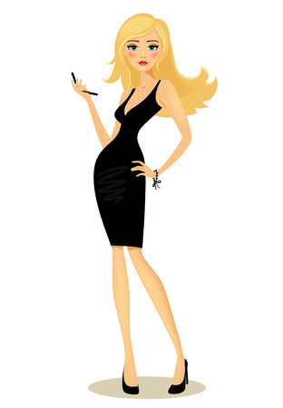 Vector illustration of a beautiful curvaceous glamorous girl with long blond hair in a black dress posing with her hand on her hip holding a mobile phone  on white Ilustração