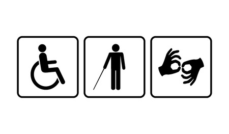 persona en silla de ruedas: Iconos para minusválidos: silla de ruedas, ciegos, sordos y mudos