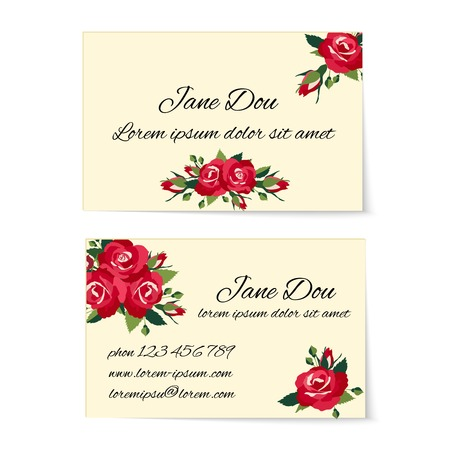 credentials: Two different business card templates decorated with stylish bunches of red roses with foliage and buds in an elegant design wit copyspace for contact details  marketing and credentials Illustration