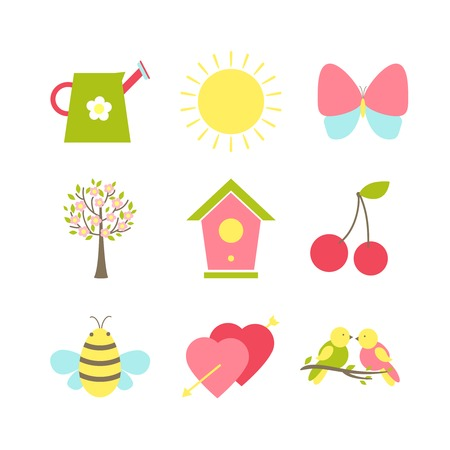 nesting: Set of spring icons depicting a watering can  sunshine  butterfly  cherry blossom  dovecote or nesting box  cherries  bee  Valentine hearts and songbirds  silhouette vector illustrations Illustration