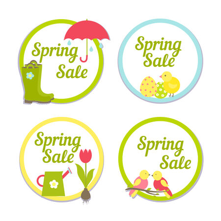Set of four circular Spring Sale labels with simple frames enclosing the text with one depicting the rain  one Easter  one gardening and tulips and the last songbirds for advertising and marketing Vector