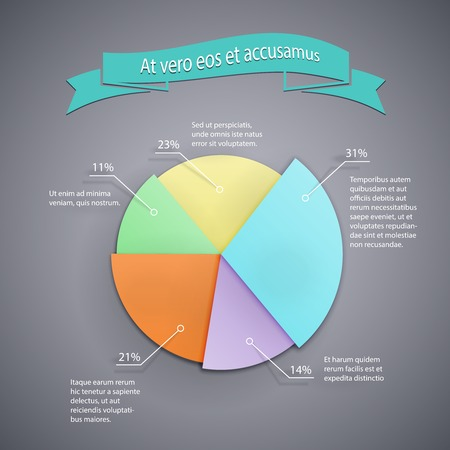 vector business pie chart template for infographics, reports and presentations Vector