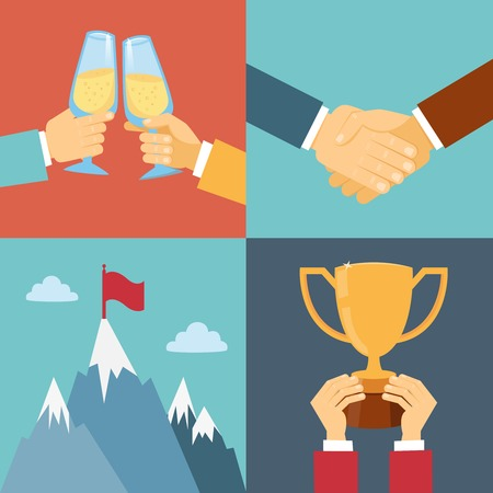 commendation: business success, leadership and win vector illustration in flat style