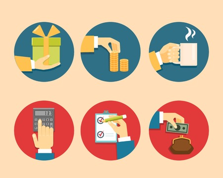 payment icon: Hands with object icons, Flat Design Vector illustration Illustration