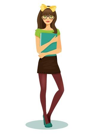 ragazza: studente piuttosto ragazza con gli occhiali e il libro in mano illustrazione vettoriale su sfondo bianco Vettoriali