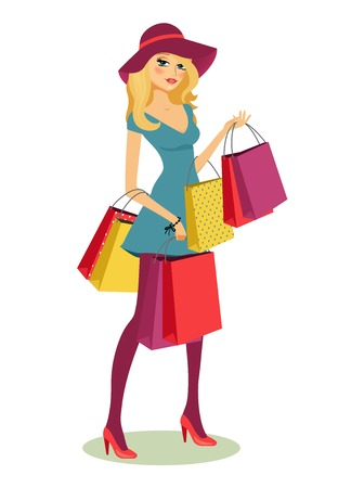 beautiful young blond woman after shopping with lots of shopping bags in her hands vector illustration Illustration