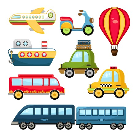 Cute Vector Illustration Cartoon Transportation set on white background Vector