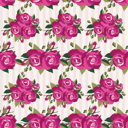 an inflorescence: Pink seamless pattern with roses inflorescence vector illustration for vintage design
