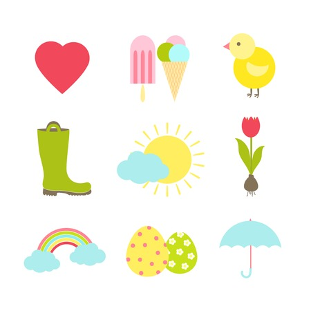 vector colorful fun spring icons on white background Stock Vector - 27163460