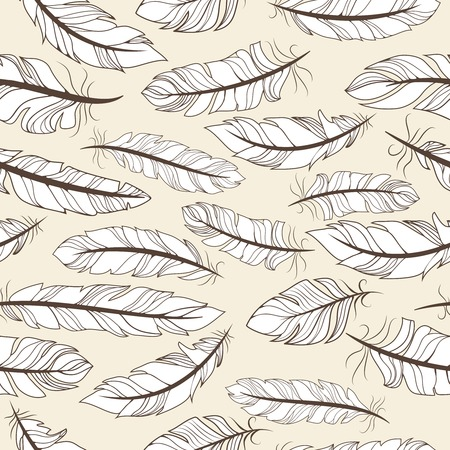 lightweight ornaments: Vintage seamless pattern with hand-drawn feathers vector illustration Illustration