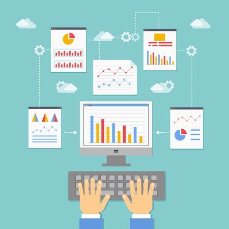 gestion: ilustración optimización de aplicaciones web, programación y análisis vectorial