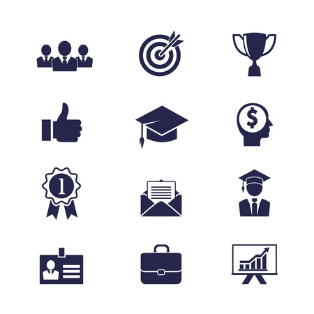 Vector Business career icons set for web and apps Vector