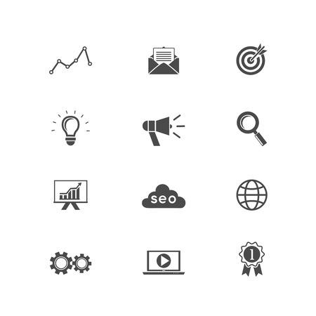 Vector SEO Set, iconos de optimización de motores de búsqueda para la web y aplicaciones Foto de archivo - 27163468