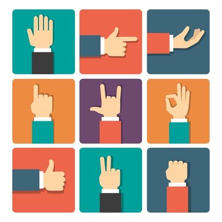 Geplaatste de pictogrammen van de hand gebaren vector illustratie Vector Illustratie