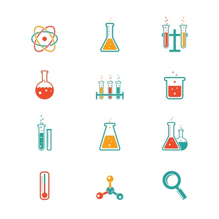 beaker: vector colored chemistry icons for learning and web applications Illustration