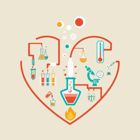 플라스크, 테스트 튜브 및 커와 사랑의 화학 인포 그래픽 방식의 벡터 일러스트 레이 션