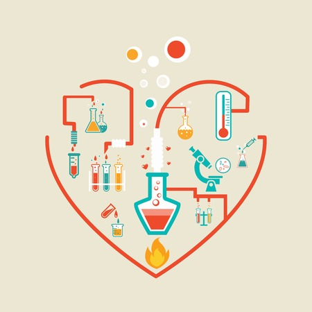 amour chimie infographie vecteur régime illustration avec des flacons, tubes et gobelets essai