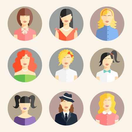 blonde females: Vector collection of women avatars in flat style