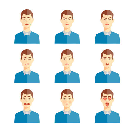 choleric: various human emotions vector illustration, set of cute characters Illustration