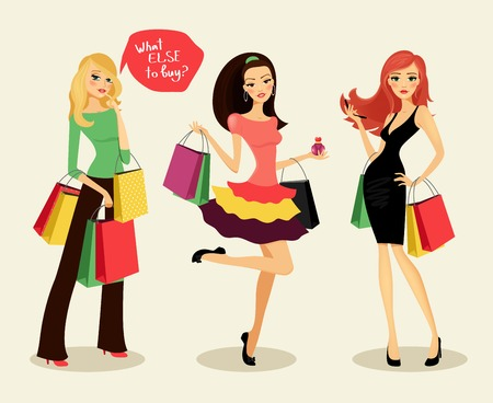 redhead woman: blonde, brunette and redhead fashion shopping girls with bags and packages in hand, glad purchases, vector illustration