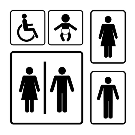wc: Toilette-Vektor-Zeichen schwarze Silhouetten auf weißem Hintergrund