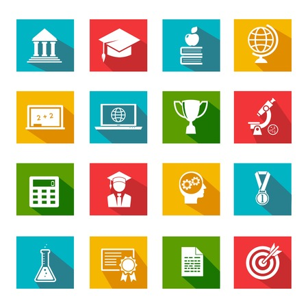 educational institution: Vector internet education icons with long shadow on colored squares