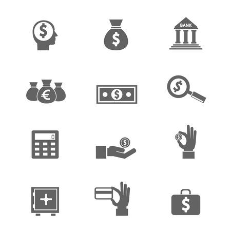 dinero falso: Dinero e icono de la moneda conjunto de vectores eps10