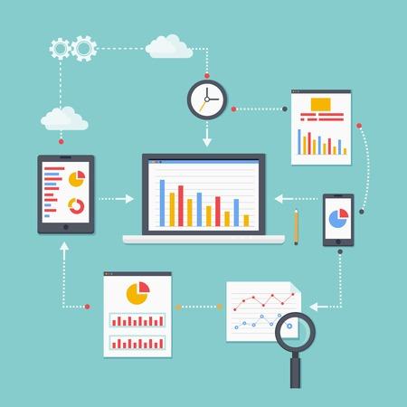 analytic: Flat vector scheme of web analytics information, development and statistic. Vector illustration Illustration