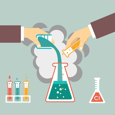 synthesis: chemical experiment, hand mixed chemicals vector illustration