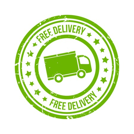 green free delivery stamp with van and stars vector eps10 illustration Vector