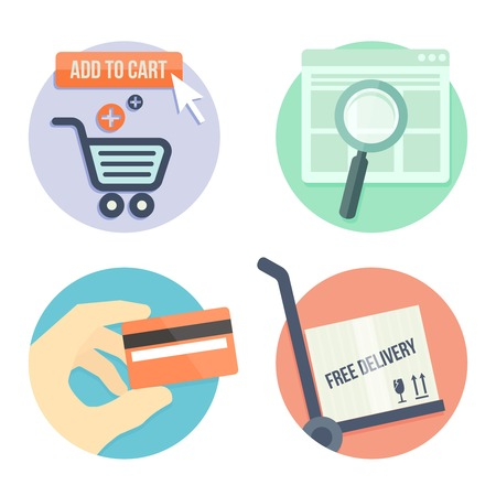 credit cart: online shopping flat design icons for online shop, add to bag, payment methods and delivery Illustration