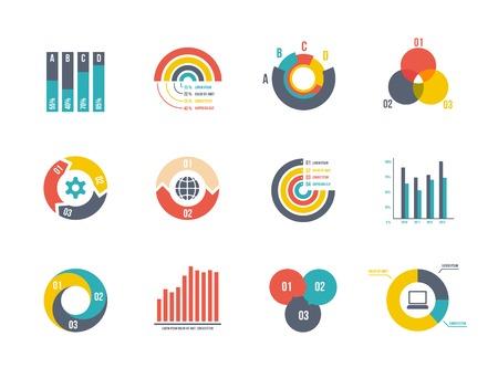 grafica de pastel: plantillas circulares gran conjunto y de barras vector de infografía
