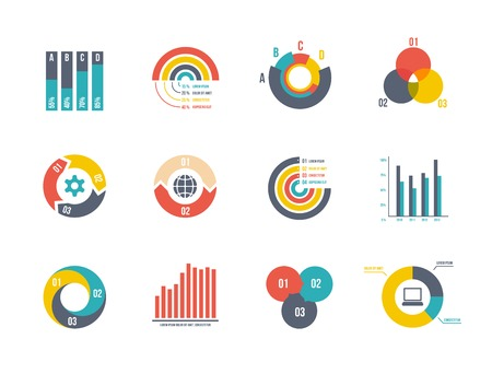 large set pie and bar charts vector templates for infographics Illustration