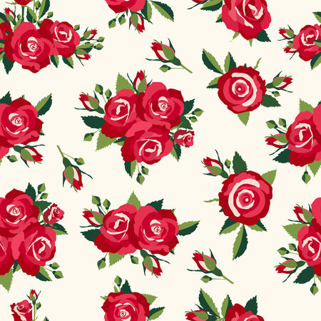 sateen: Vintage roses pattern, background in retro style for love design