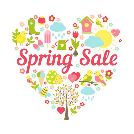 spring sale header in heart shape decoration vector illustration Vector