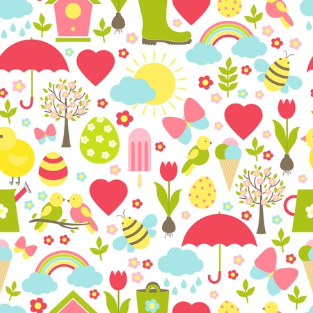 Pretty delicate seamless spring pattern in a busy design with iconic springtime favourites depicting the weather  Easter  Valentine  flowers  insects  birds  icecream suitable for fabric and wallpaper Vector