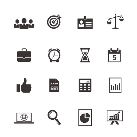 business and time icons  calendar, charts and collaboration Vector